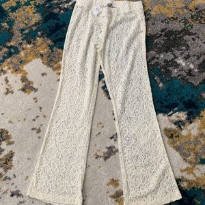 Aerie Off White Lace Beach Pant